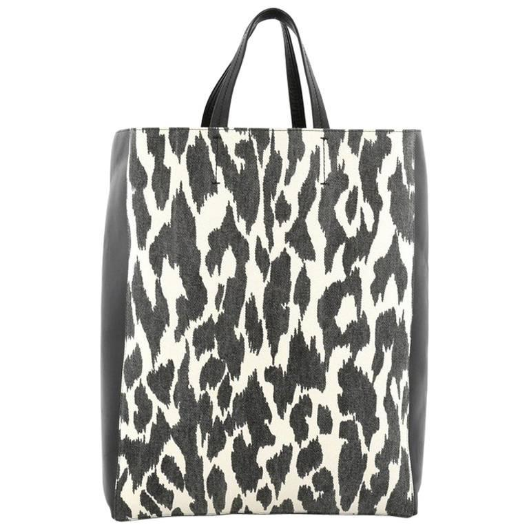 Celine Vertical Bi-Cabas Tote Printed Canvas and Leather Large 1