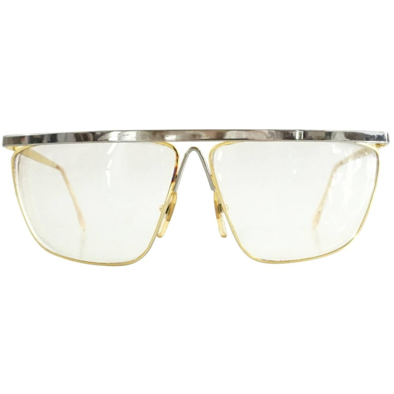 Laura Biagiotti Gold and Silver Large Glasses For Sale