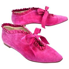 Manolo Blahnik Hot Pink Suede Ruffled Lace Up Vintage Booties Size 38.5 US 8.5