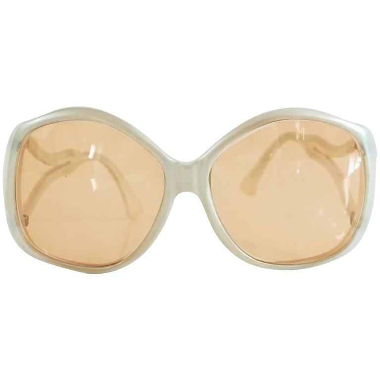 8839c1851 Diane von Furstenberg Large White Sunglasses - Circa 1970's For Sale ...