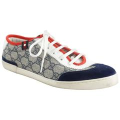 Gucci Red, White, and Blue Monogram Sneakers - 39