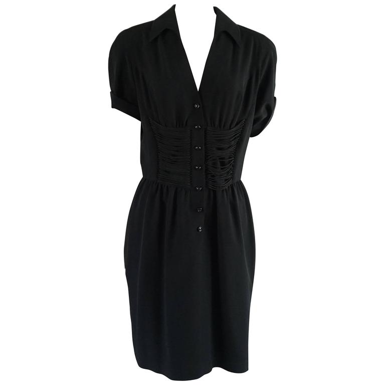 Thierry Mugler Black Collared Dress with Cord Detailing - 42