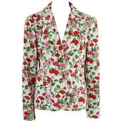 Dolce & Gabbana Red, Green, and White Floral Print Jacket - 44