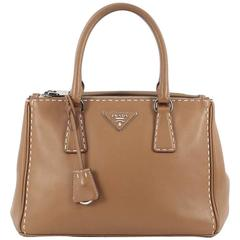 Prada Double Zip Tote Stitched City Calfskin Small