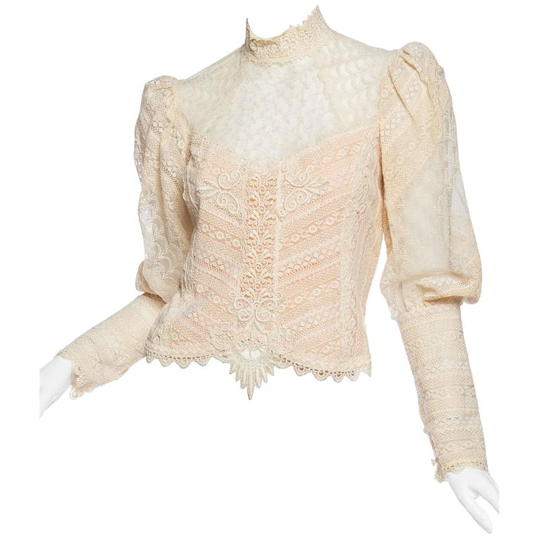 1970s Victorian Style Lace Blouse