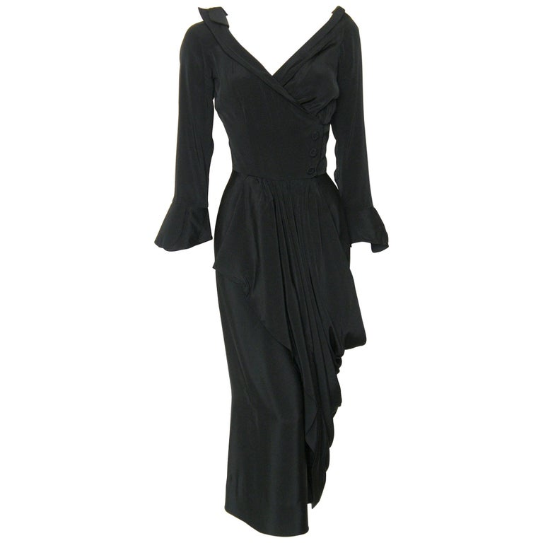 Ceil Chapman Little Black Cocktail Dress Fixed Wrap Bodice and Skirt Draping For Sale