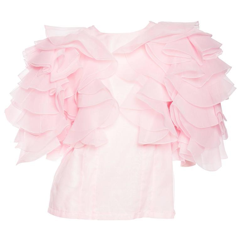 Pink Organza Ruffled Blouse