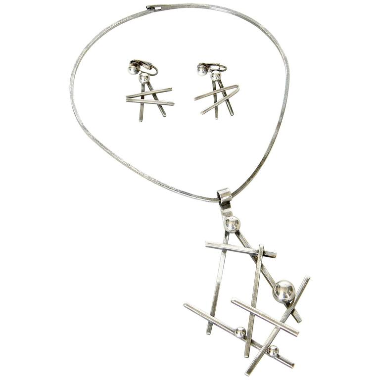 Abstract Sculptural Necklace and Earrings Set 1