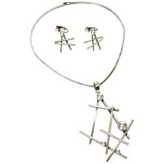 Abstract Sculptural Necklace and Earrings Set