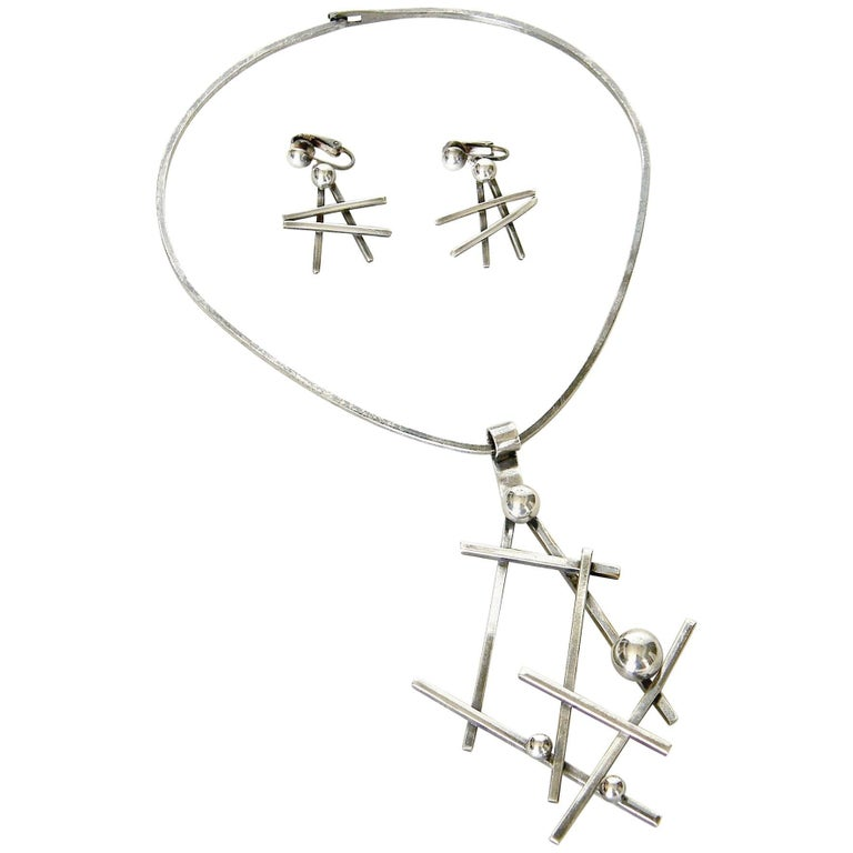 Abstract Sculptural Necklace and Earrings Set For Sale