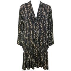 1980's Nicole Miller Black and Tan Button Down Silk Tunic/Mini Dress