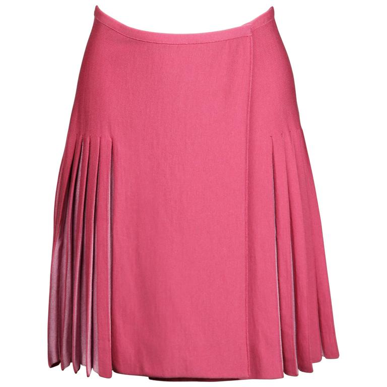 Alaia Vintage Two-Tone Pink Pleated Skirt