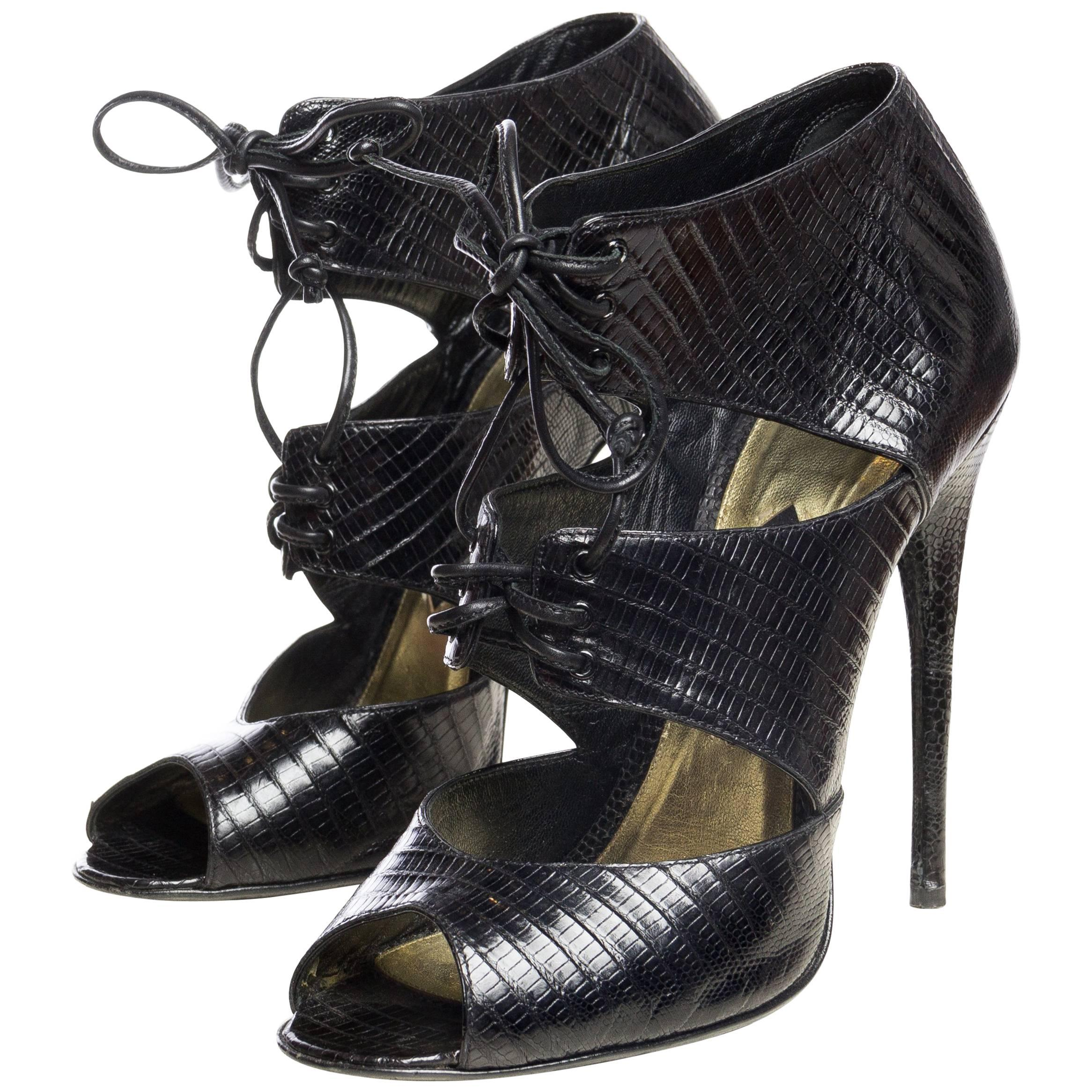 cfbff4611b6 BRAND NEW! TOM FORD for GUCCI BLACK SATIN CORSET SHOES at 1stdibs
