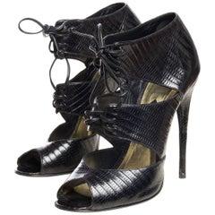 2000S Tom Ford  Lizard Skin Peep-Toe Pumps Shoes