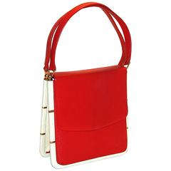 Unusual and Rare Mod Red and White Purse with Gold Accents Summer!