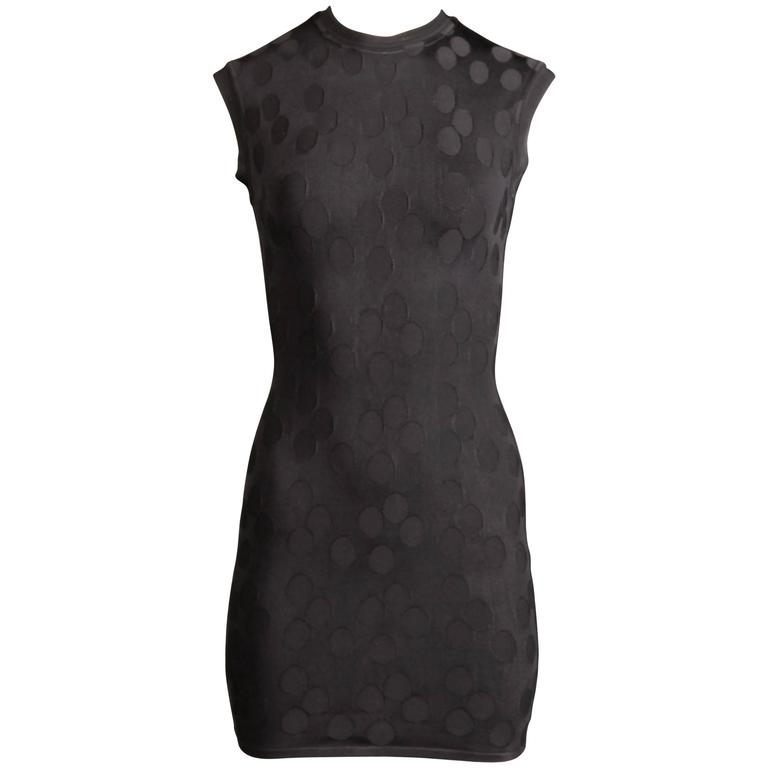Alaia Vintage 1990s Black Polka Dot Dress