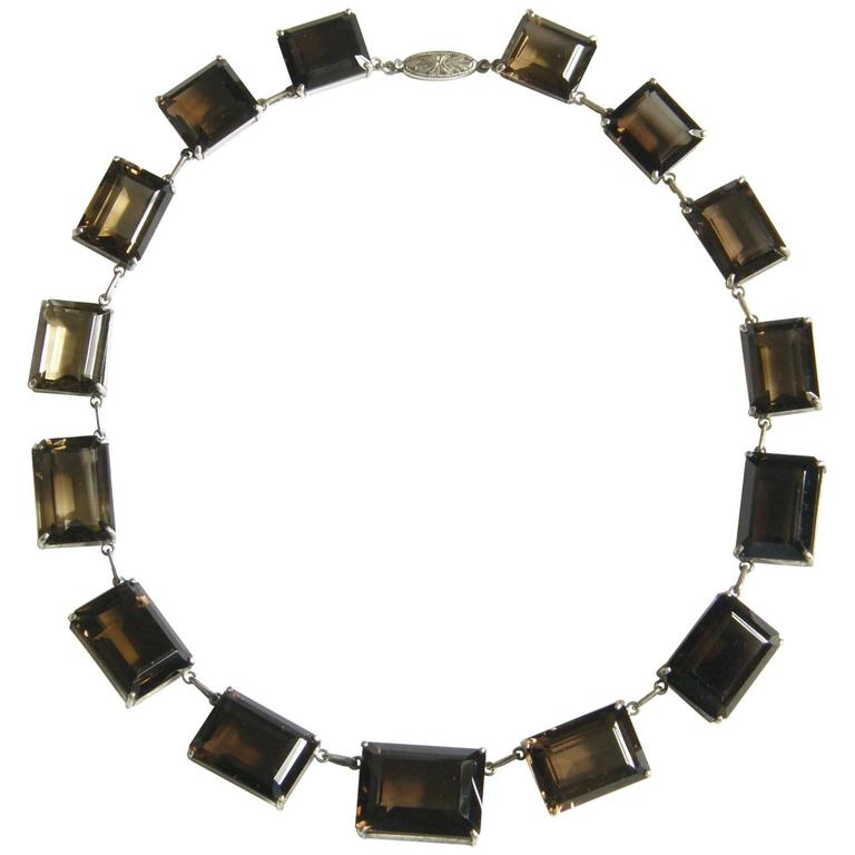 Sterling and Smoky Quartz Necklace For Sale