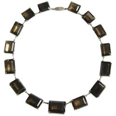 Sterling Choker Necklace Set with Faceted Emerald Cut Smoky Quartz