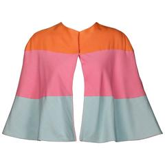 Karl Lagerfeld for Tiziani Vintage 1960s Color Block Cape