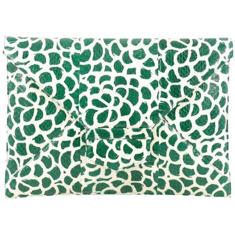 Oscar de la Renta Grafton Flat Envelope Clutch Printed Snakeskin Large For Sale