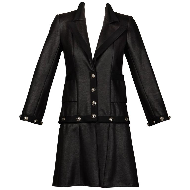 Chanel 2008 Convertible 2-in-1 Black Jacket + Coat with Airline Cruise Buttons For Sale