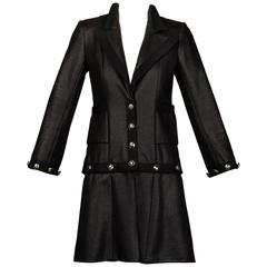 Chanel 2008 Convertible 2-in-1 Black Jacket + Coat with Airline Cruise Buttons