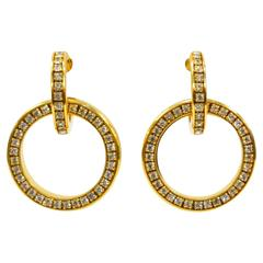 Classic Valentino Rhinestone Circle Hoop Earrings Circa 1970s