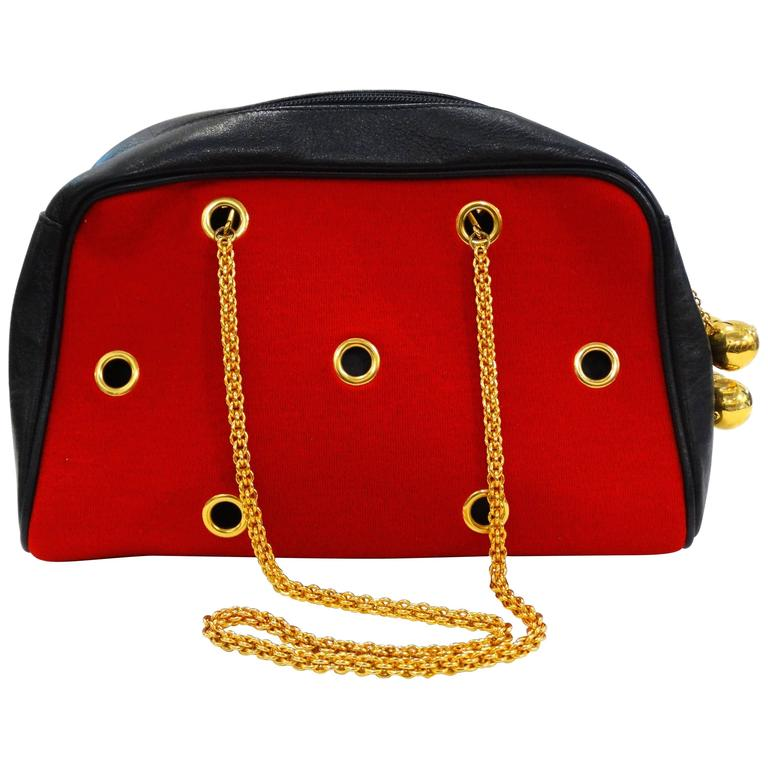 1980s Moschino Red Grommet Bag For Sale