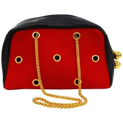1980s Moschino Red Grommet Bag