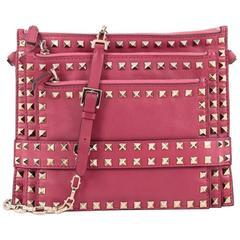 Valentino Rockstud Triple Zip Clutch Leather