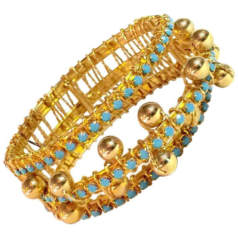 DeLillo Modernist Wirewrapped Goldtone Aqua Stones & Ball Accent Hinged Bracelet For Sale