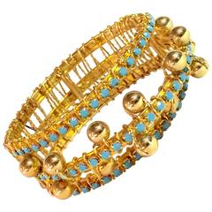 DeLillo Modernist Wirewrapped Goldtone Aqua Stones & Ball Accent Hinged Bracelet