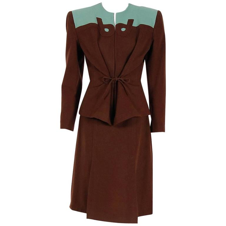 1940's Audrey Alan Blue & Brown Block-Color Deco Wool Belted Jacket Skirt Suit