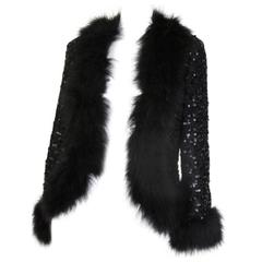 lillian diamond black marabou sequin jacket