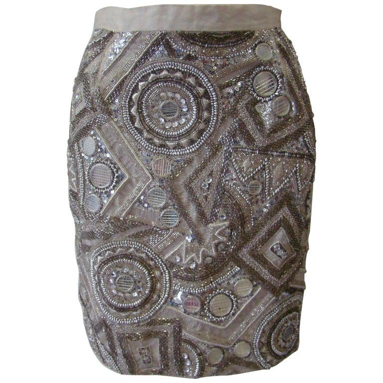 Very Rare Ella Singh Embroidered Silk Sequin Mini Skirt 1990s