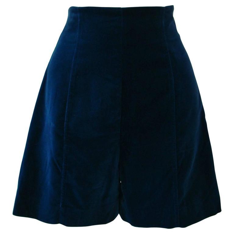 Ella Singh Navy Blue Velvet High Waisted Shorts