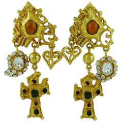 Christian Lacroix Vintage Jewelled Baroque Cross Dangling Earrings