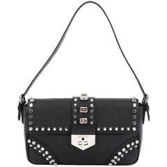 Prada Turnlock Flap Shoulder Bag Studded Saffiano Leather Medium