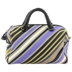Bottega Veneta Convertible Boston Bag Striped Leather Small