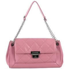 Chanel Accordion Push Lock Flap Bag Quilted Leather Medium