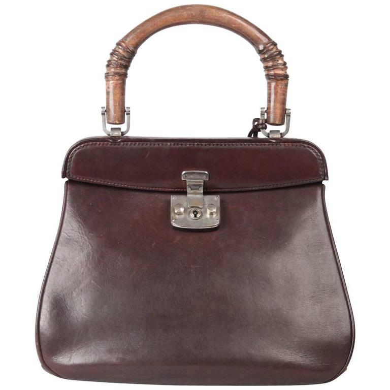 GUCCI Rare VINTAGE 50s Brown Leather LADY LOCK BAG Original Issue 1