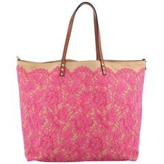 Valentino Glam Rockstud Reversible Tote Lace and Canvas