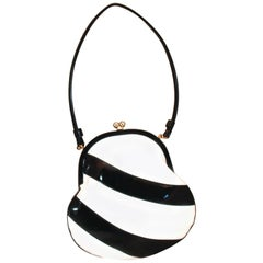 Chic Black and White Patent Shoulder Bag  *ROOMY