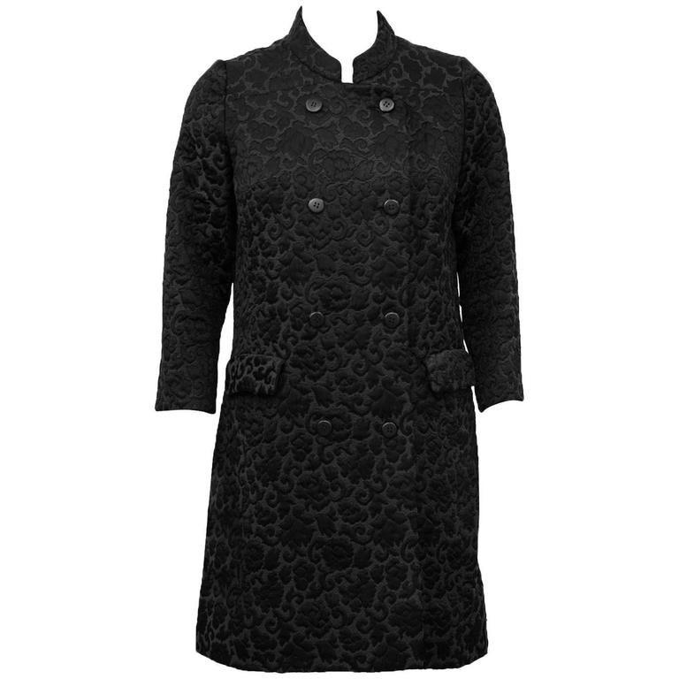 1970s Tiktiner Black Brocade Coat