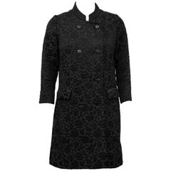 1970s Tiktiner Black Brocade Coat