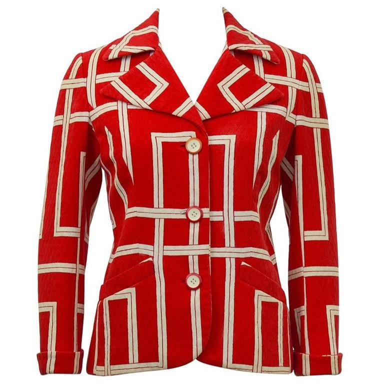 1970s Rudi Gernreich Orange and Cream Jacket  1