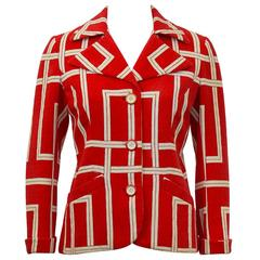 1970s Rudi Gernreich Orange and Cream Jacket