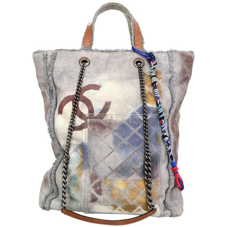 Chanel Collector's Sold Out Grey Canvas Printed Graffiti Tote Bag 1