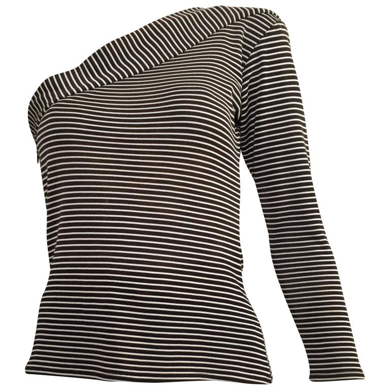 bfb7a40bd4b Saint Laurent Black and White Striped Knit One Shoulder Top Size 4 ...