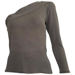 Saint Laurent 1980s Black & White Striped Knit One Shoulder Top Size 4.